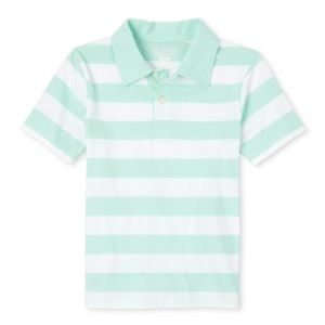 NWT PLACE Boys Sea Green Striped Polo Shirt XS(4)